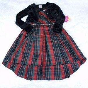 Youngland Plaid Christmas Dress w/ Cardigan